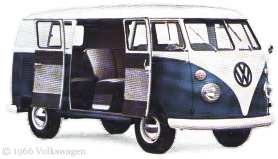 Blue and White Microbus